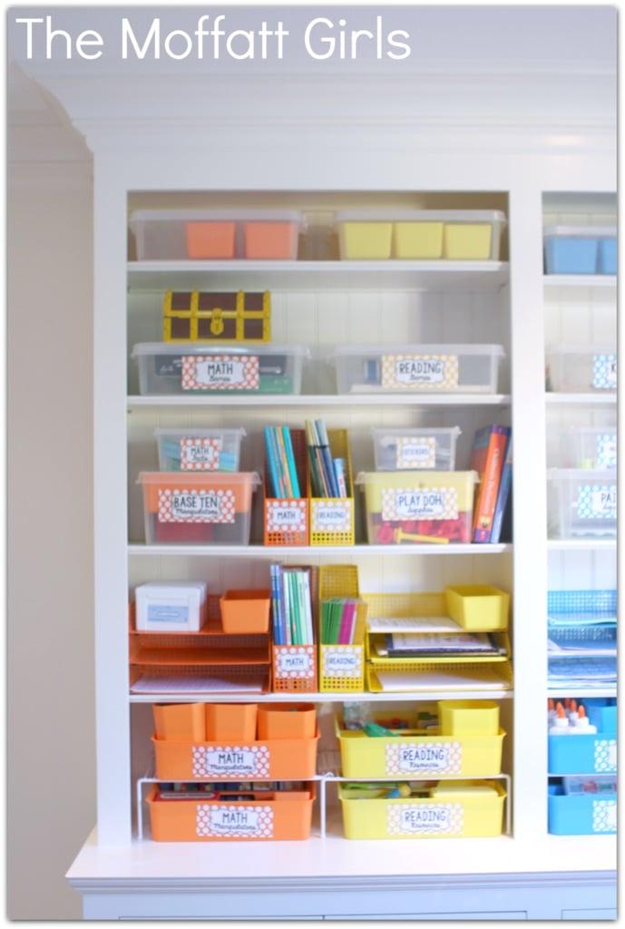 color coded home school organization