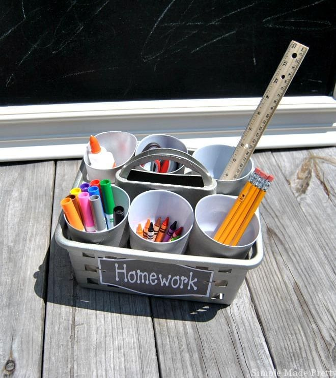 homeschool and homework supply basket