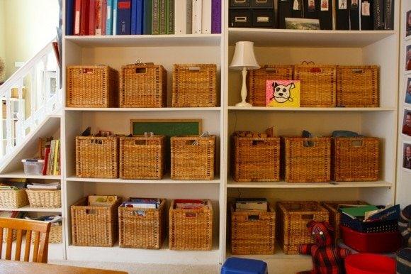 matching baskets on shelves for homeschool
