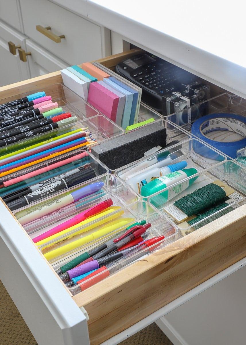 organized school supplies drawer