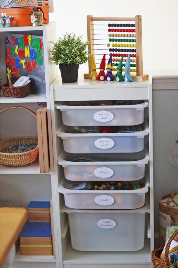 trofast bins for homeschool storage