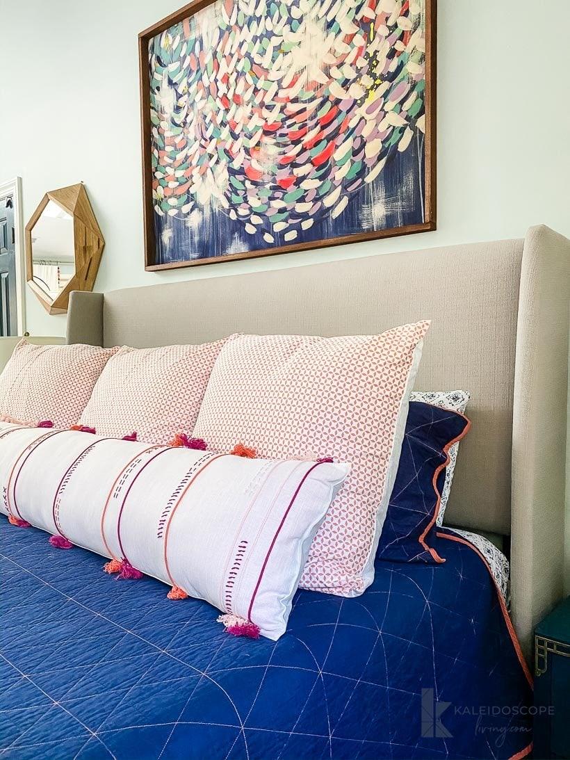 DIY bolster pillow in bedroom