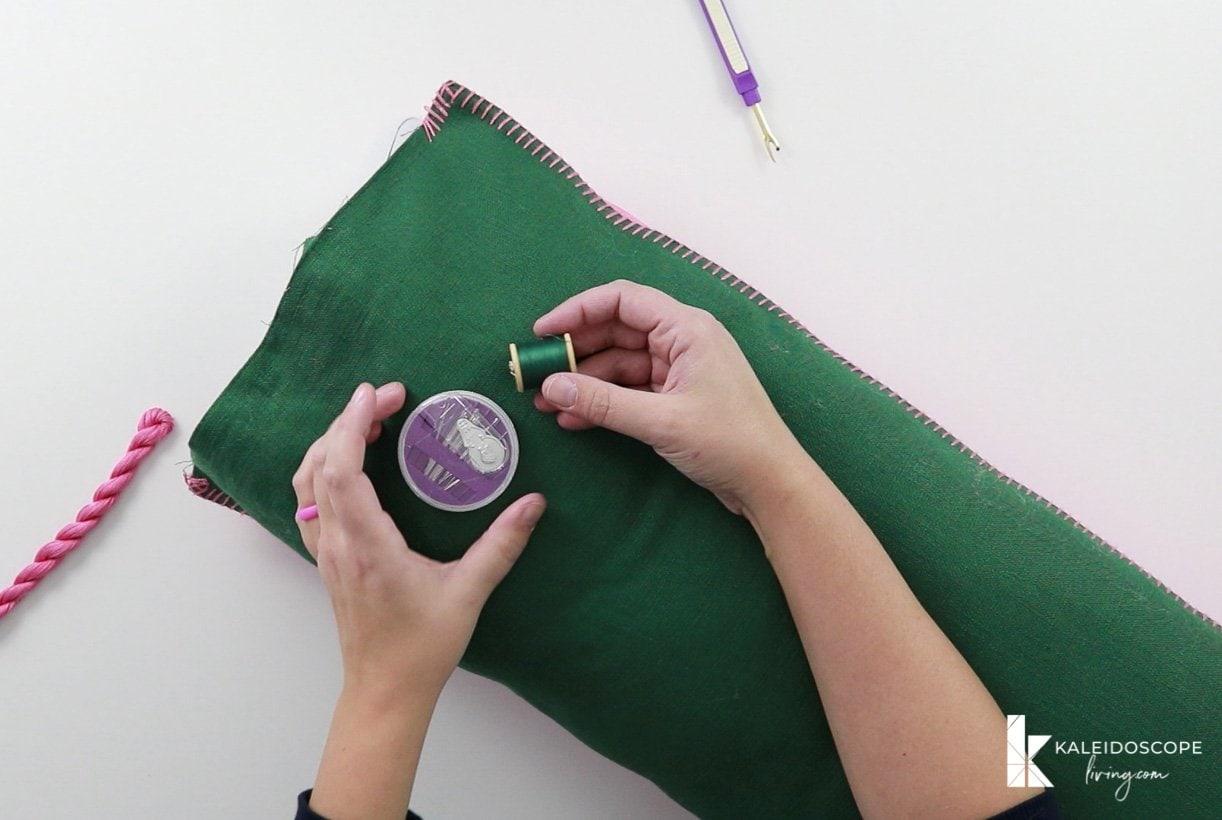 sewing DIY bolster pillow