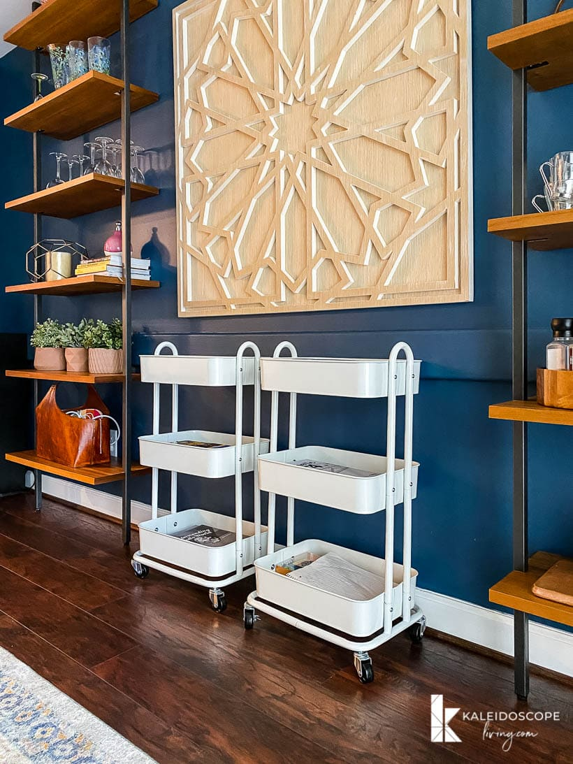 homeschool organization in dining room with carts