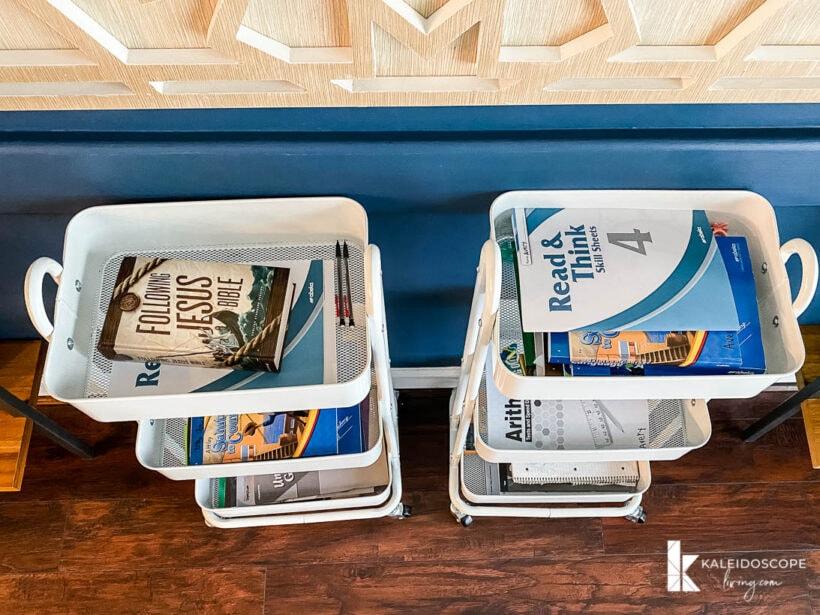 homeschool supplies organized in carts