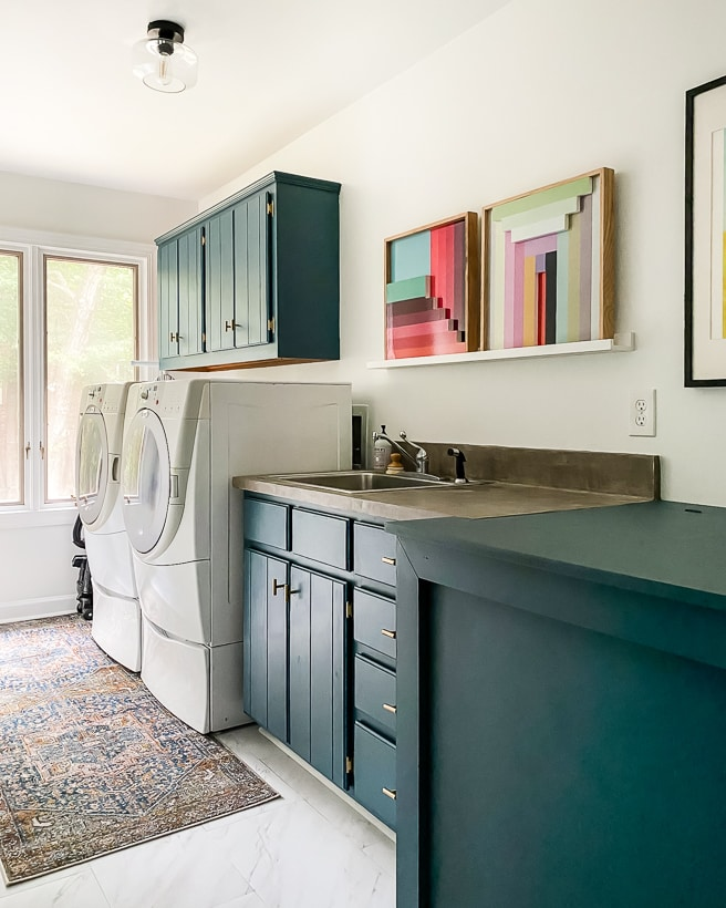 affordable laundry room update with painted cabinets
