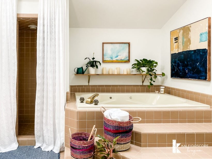 master bathroom makeover with original tile