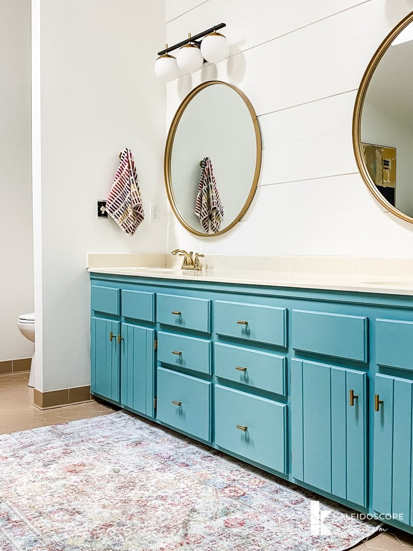 turquoise painted vanity