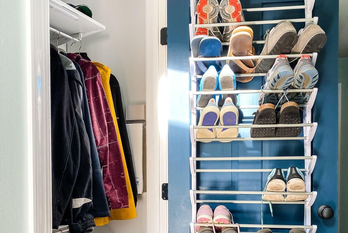 coat closet organization with shoe rack