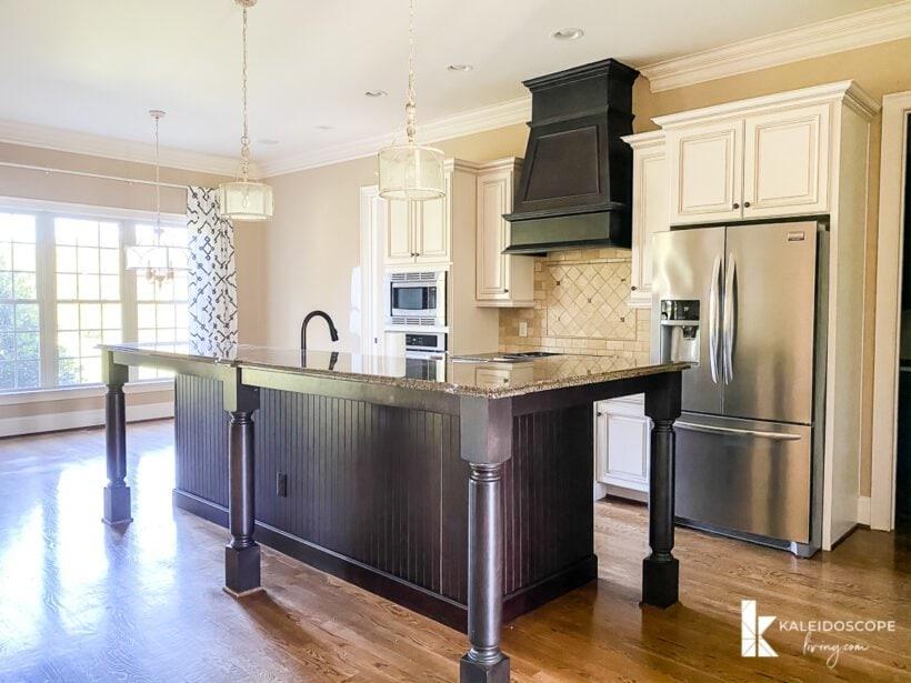 brown and dark wood open floor plan kitchen