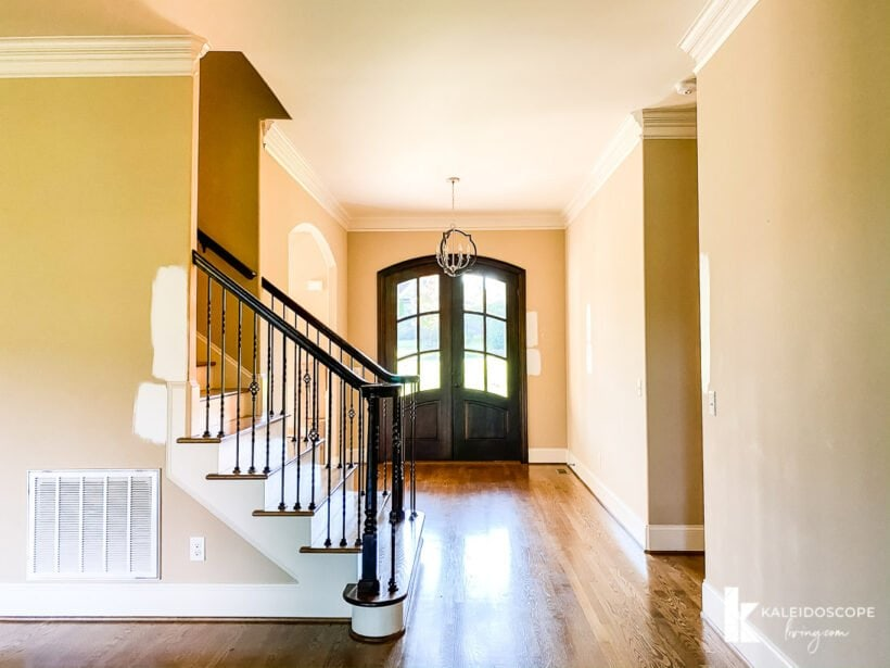 entryway with stairwell and double front doors