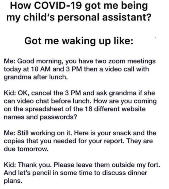 virtual school personal assistant meme
