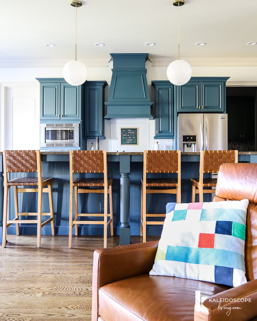 budget-friendly kitchen makeover with painted cabinets and painted tile backsplash