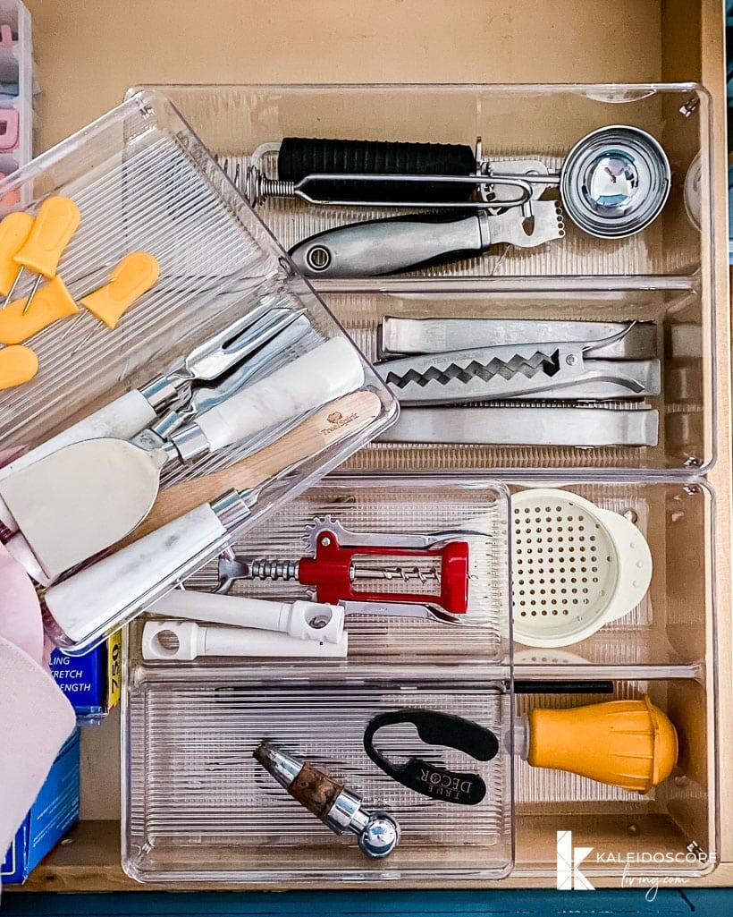 space saving kitchen drawer organization