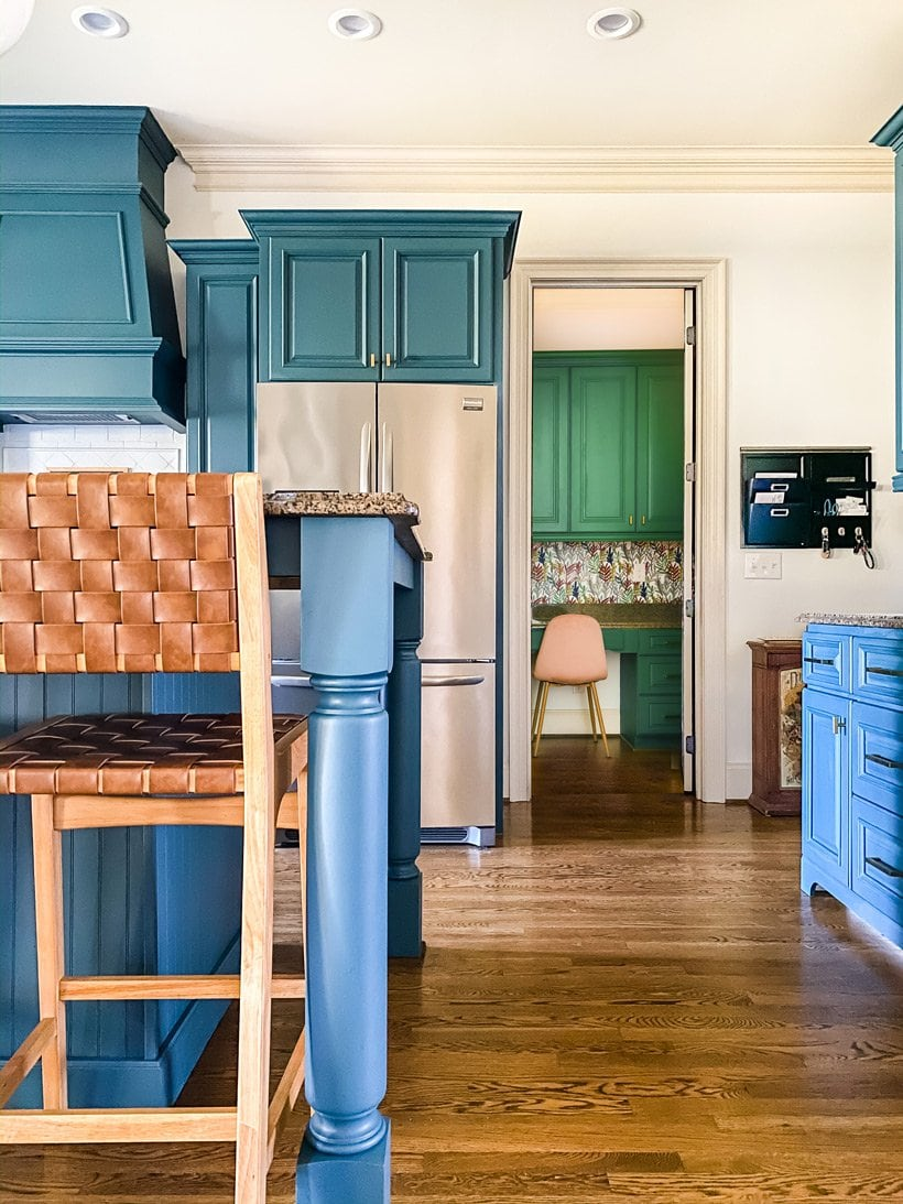 blue DIY painted kitchen cabinets