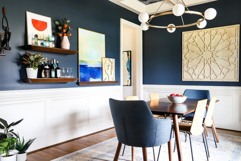 colorful art in dining room