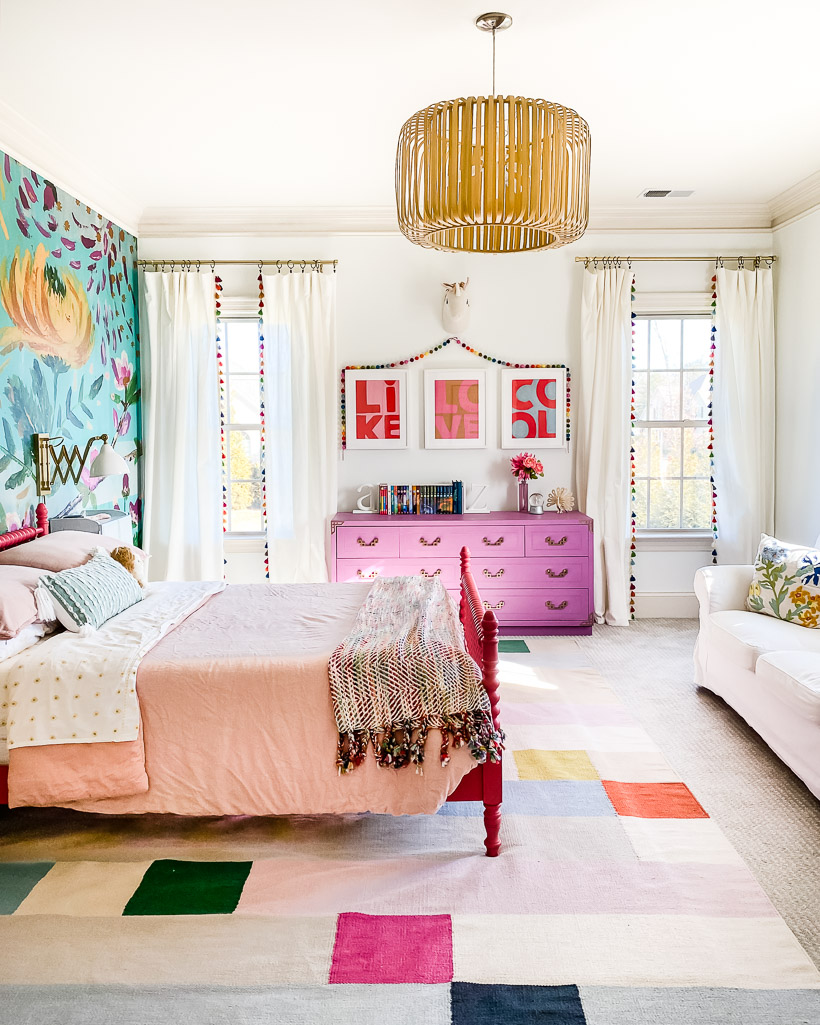 girls wall art in colorful room