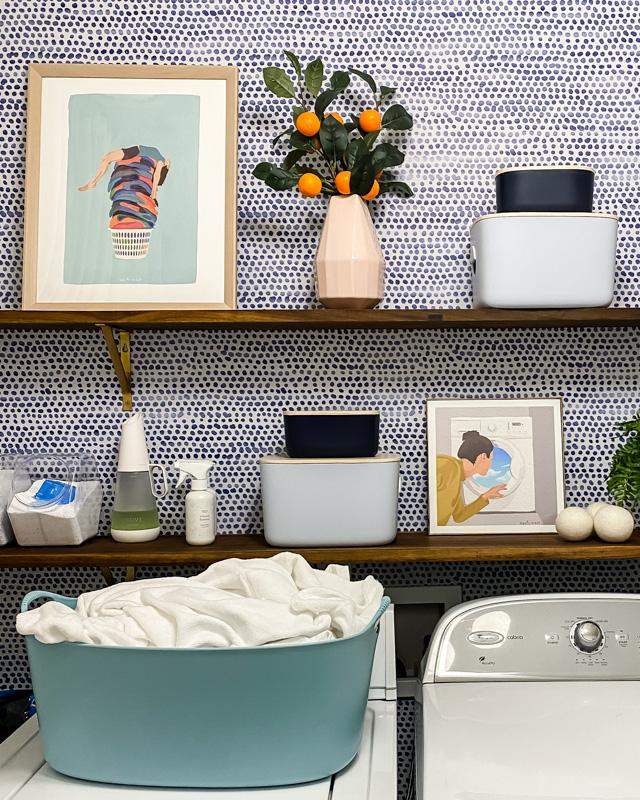 styled laundry room shelves