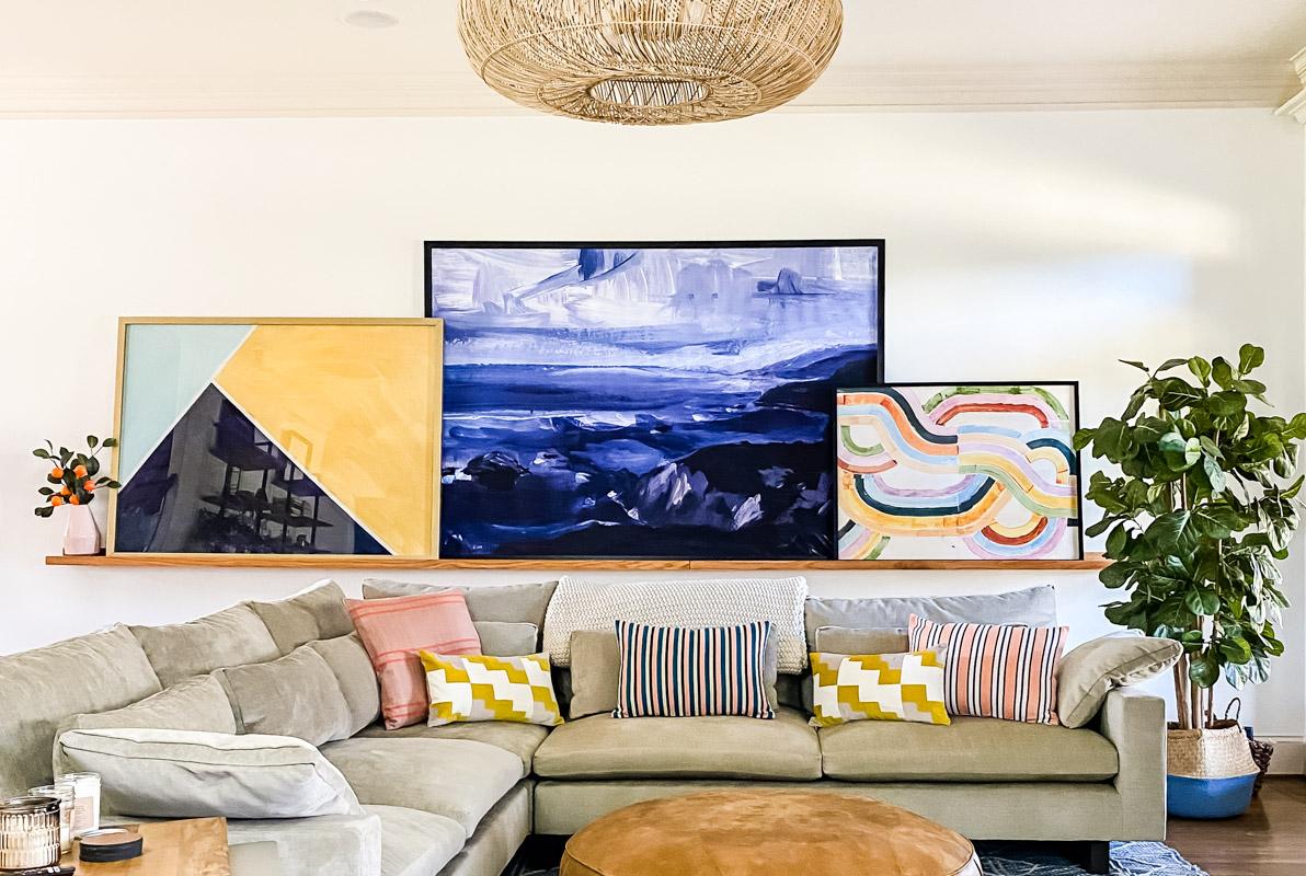 DIY art ledge in colorful living room