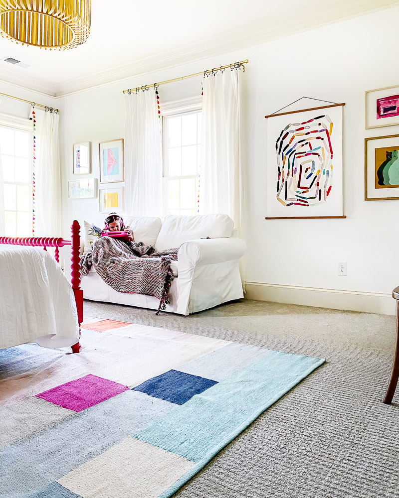 colorful girl's room with couch