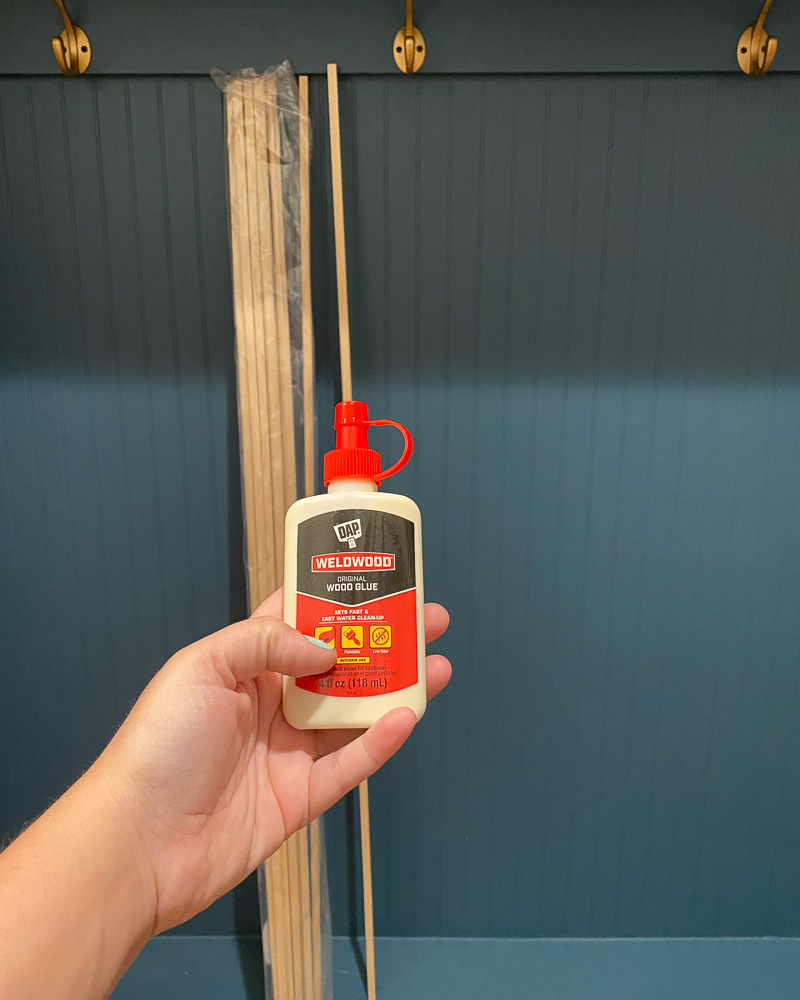 installation of DIY wood slat wall