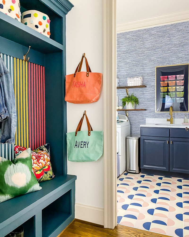 colorful mudroom and laundry room