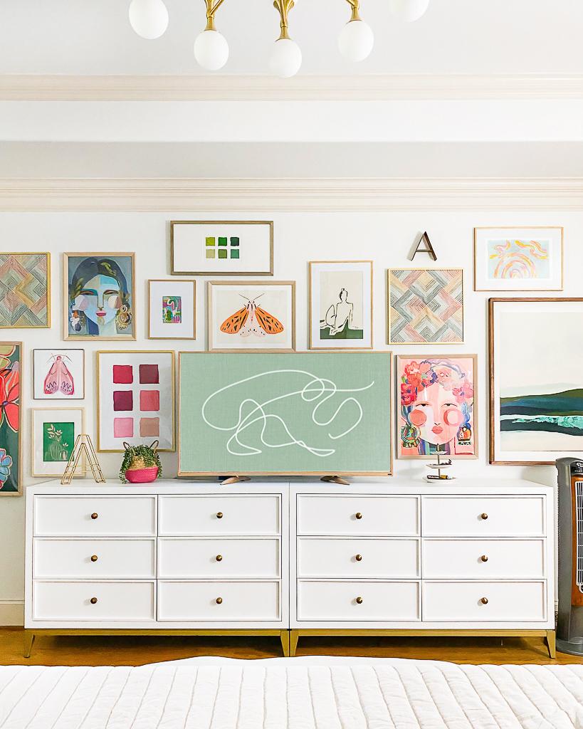 bedroom gallery wall around TV