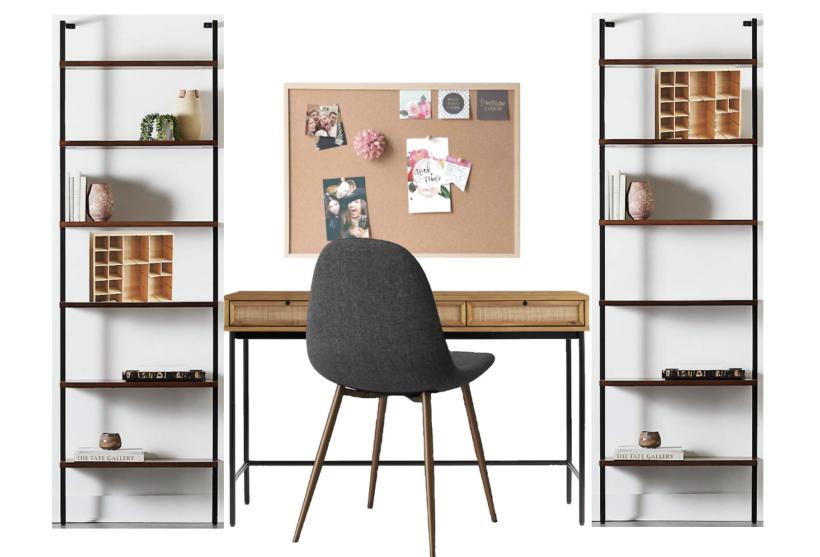 modern desk and bookshelves mockup